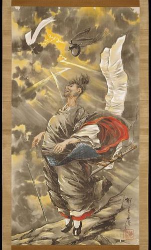 道真天拝山祈禱の図(小林永濯・画、明治時代)