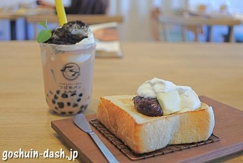 厚切り小倉トースト・タピオカロイヤルミルクティー(つばめパンandMilk)