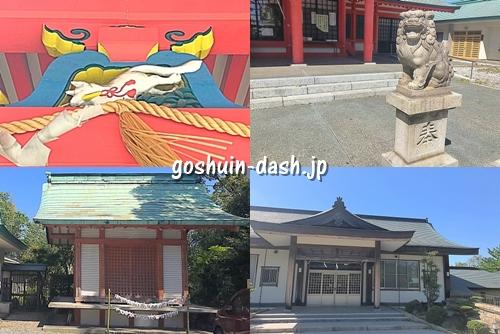 豊藤稲荷神社の見どころ(拝殿の屋根の狐・狛犬・神楽殿・参集殿)