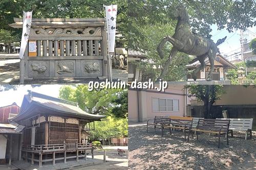鹽竈神社(名古屋市中川区)の見どころ(蕃塀・神馬・神楽殿・ベンチ)
