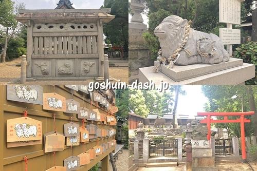 羊神社(名古屋市北区)見どころ(蕃塀・神羊・絵馬・末社)