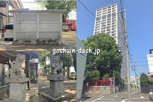 伊勢山神明社(名古屋)の見どころ(蕃塀・狛犬・タワーマンション)