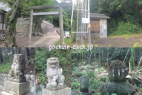 栗栖神社(愛知県犬山市)の境内の様子(鳥居・神輿庫・狛犬・山神)