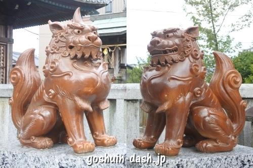 天地社(日進市赤池町)陶製狛犬(境内社前)