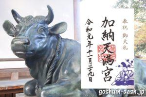 加納天満宮(岐阜市)の御朱印と牛像