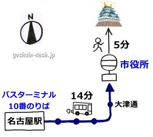 名古屋駅から名古屋城の行き方(バス)