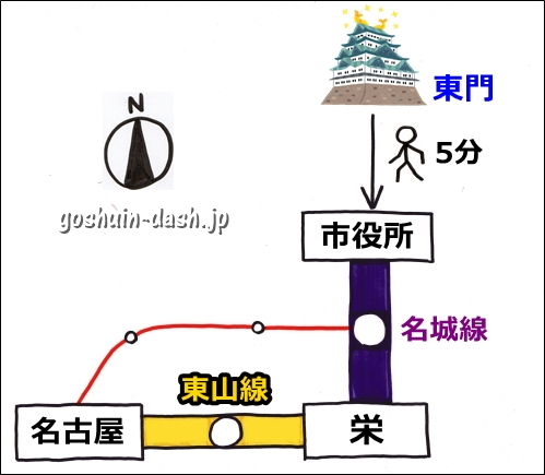 名古屋城から名古屋駅の行き方(地下鉄東山線)