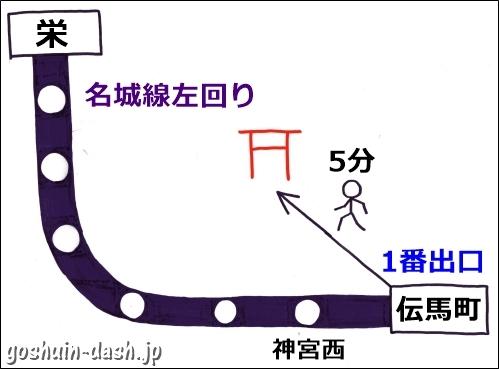 栄から熱田神宮の行き方(地下鉄・伝馬町駅)