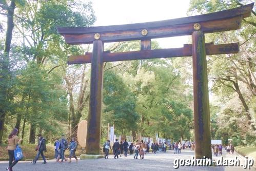 明治神宮(東京都渋谷区)日本一の大鳥居