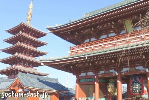 浅草寺(東京都台東区)五重塔と宝蔵門
