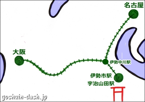 伊勢神宮の最寄り駅(名古屋からでも大阪からでも同じな理由)
