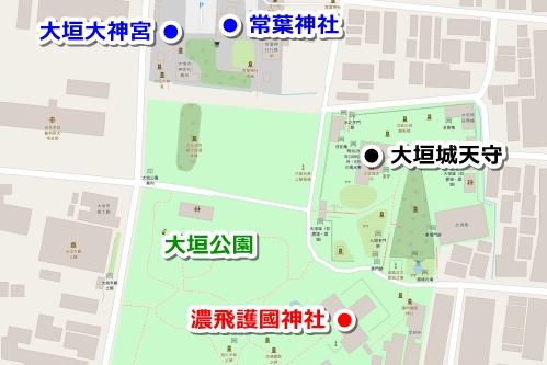 濃飛護國神社・常葉神社・大垣大神宮(岐阜県大垣市)の地図