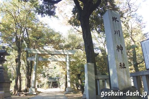 赤坂氷川神社(東京都港区)正面鳥居と社号標