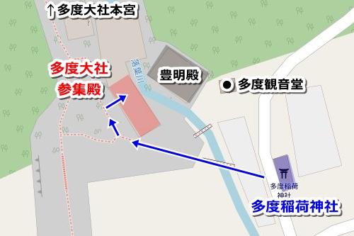 多度稲荷神社(三重県桑名市)の御朱印受付場所マップ(多度大社参集殿)