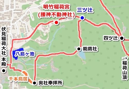 明竹稲荷宮(腰神不動神社・京都市伏見区)アクセスマップ